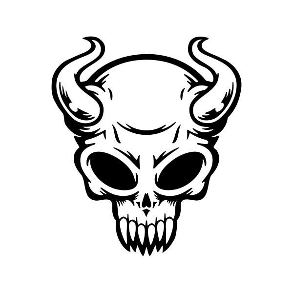 Simple Color Vinyl Devil Skull Stickers Factory