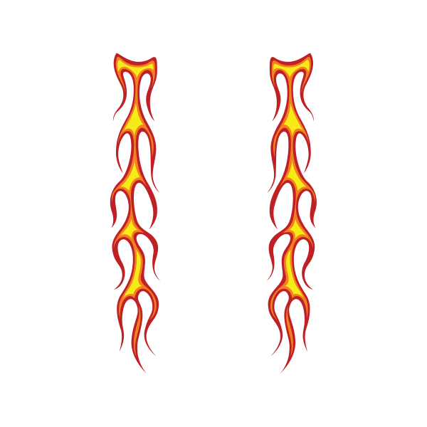 Decals Sticker Pair Of Long Flames Pattern Red Yellow 20 03014