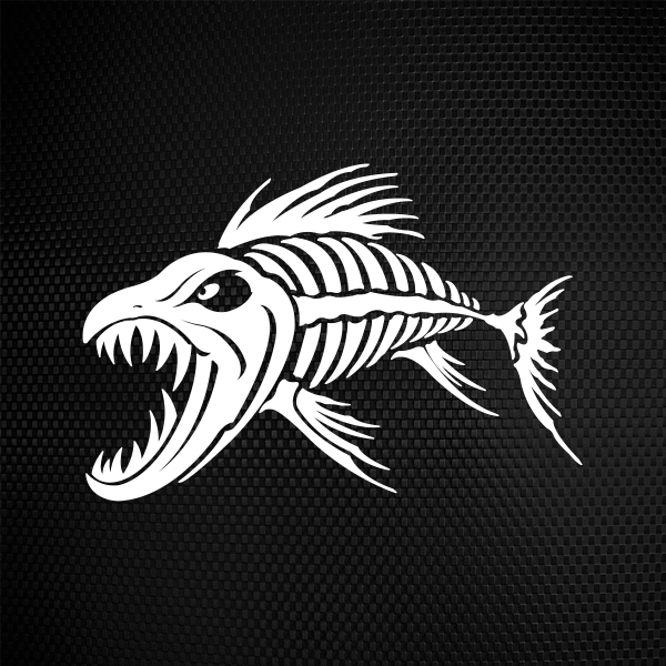Simple color vinyl aggressive fish skeleton stickers factory for Fish skeleton decal