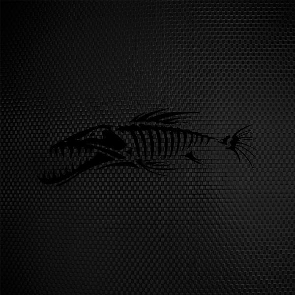 Simple color vinyl fish bones skull skeleton stickers for Fish skeleton decal