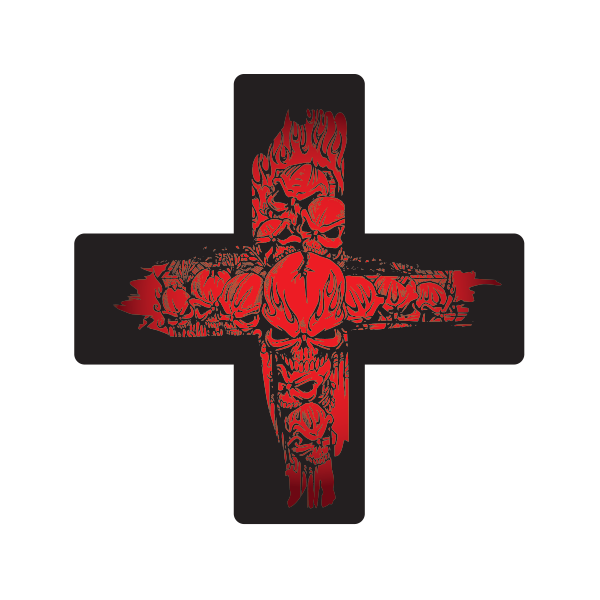 Printed Vinyl Skull Red Death Cross Stickers Factory