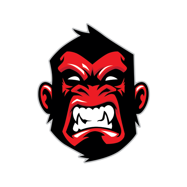 Ape gorilla head red 07993