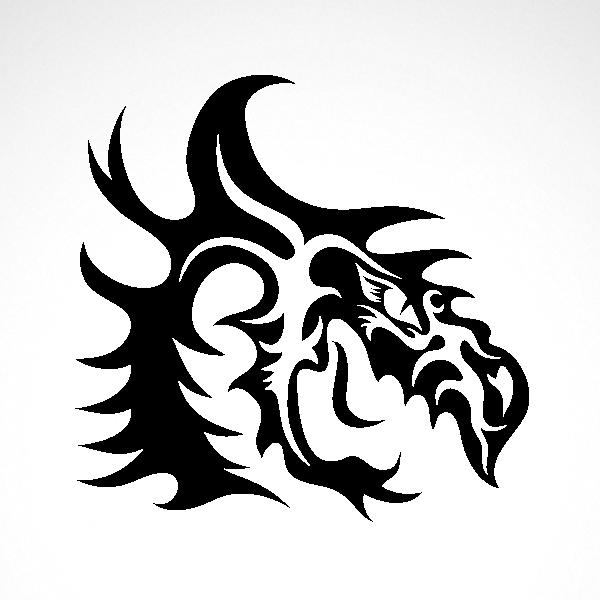 Simple Color Vinyl Tribal Dragon Head Stickers Factory