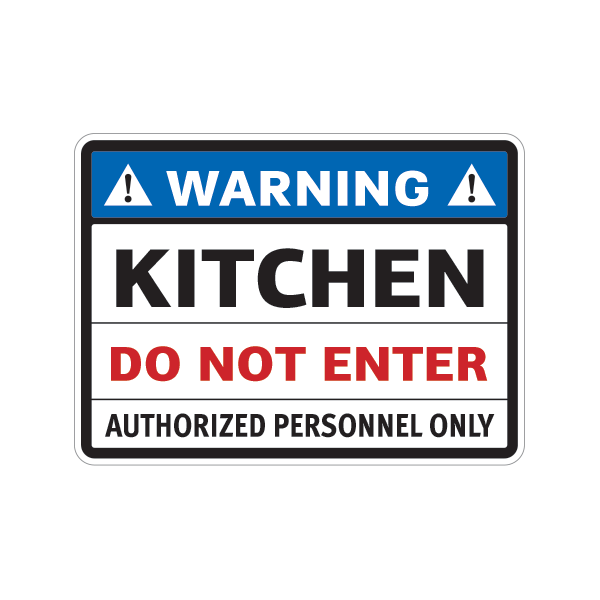 Kitchen Signs In Spanish: Printed Vinyl Warning Kitchen Do Not Enter Authorized Personnel Only