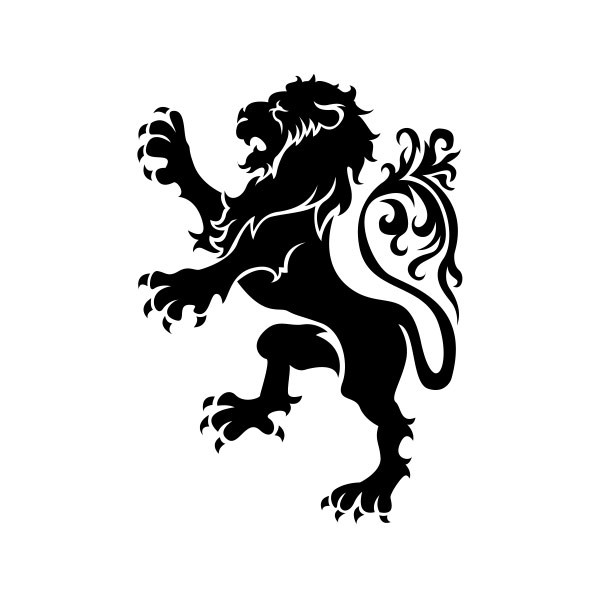 Simple Color Vinyl Heraldic Lion