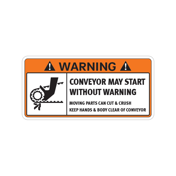 Printed vinyl Warning Conveyor May Start Without Warning  Moving