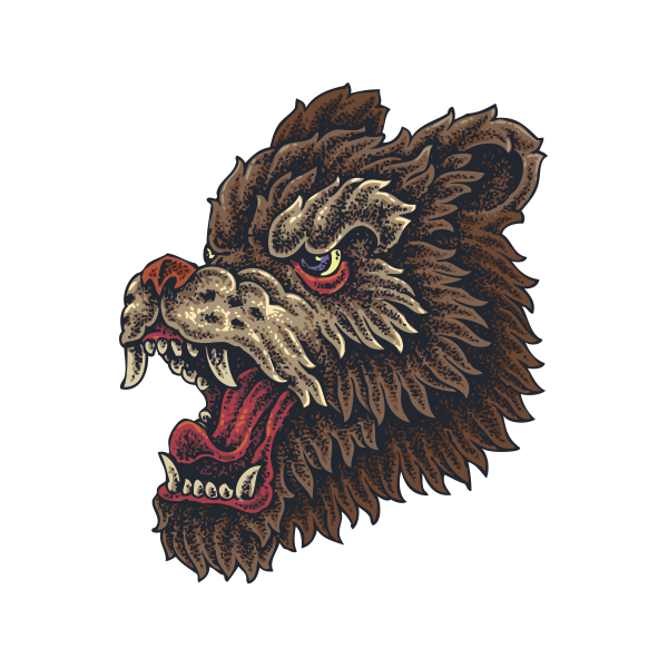 4b7c361a6 Printed vinyl Angry Wolf Tattoo Style | Stickers Factory
