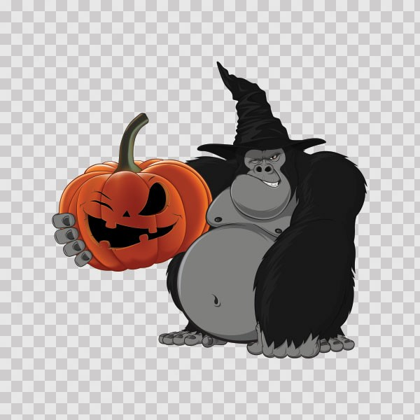 Printed vinyl Wicked Ape Gorilla With Evil Scary Pumpkin ...