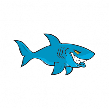 Cartoon Shark On Patrol 01773