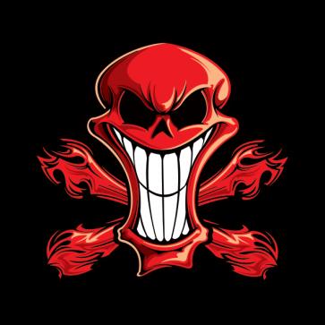 Cartoon Red Skull Barbeque 02414