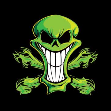 Cartoon Green Skull 02416