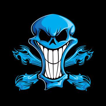 Cartoon Blue Skull 02418