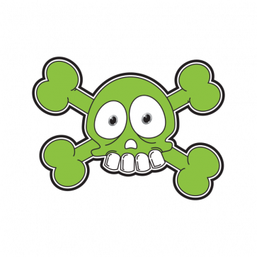 Cartoon Green Skull 02423