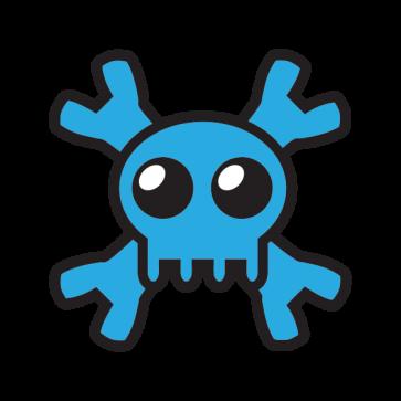 Cartoon Blue Skull 02428