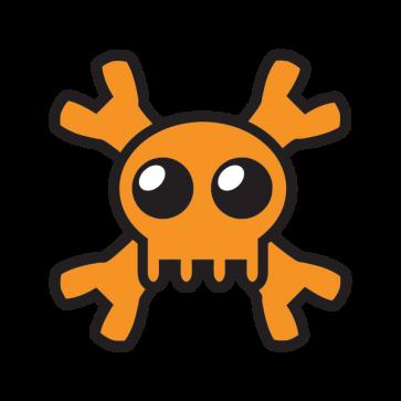 Cartoon Orange Skull 02429