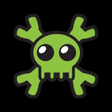 Cartoon Green Skull 02430