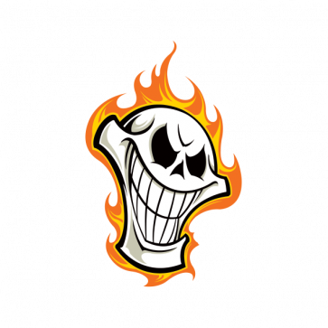 Skull With Flames Smiles 02493