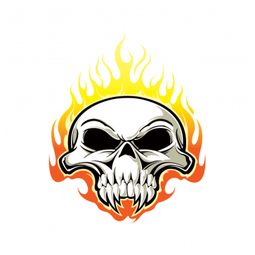 Skull With Flames 02498