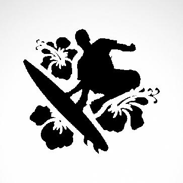 Surfer Surfboard Hibiscus  03307