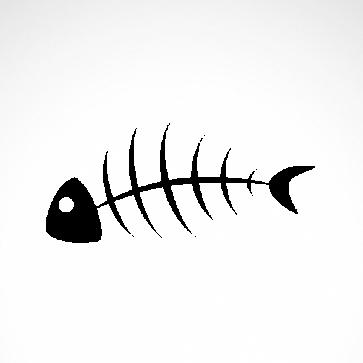 Fish Bones Skull Skeleton 05952