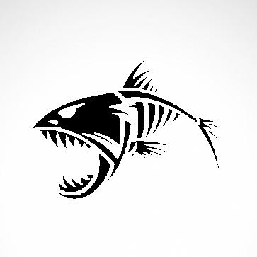Skeleton Fish Bones Skull  06164
