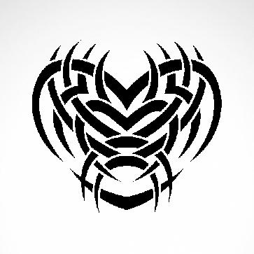 Tribal Design Tatto Style Heart 07492