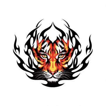 Tiger Head In Flames 09951