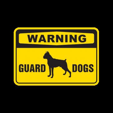 Warning Guard Dogs Boxer Bulldog Sign 12105