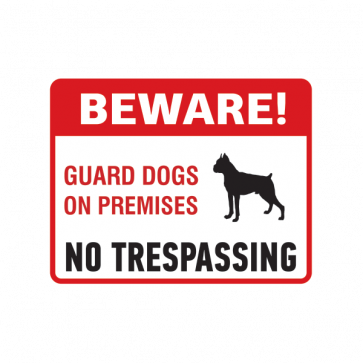 Beware Guard Dogs On Premises Sign 12137