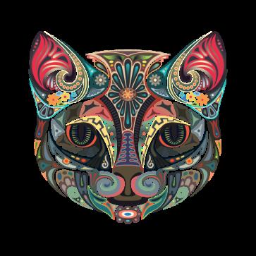 Floral Domestic Cat Head 13053