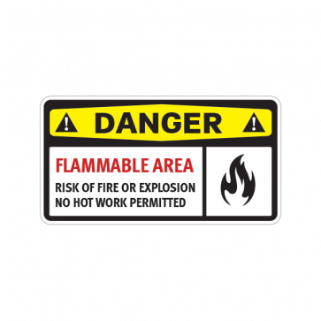 Danger Flammable Area Risk Of Fire Or Explosion No Hot Work Permitted 14202