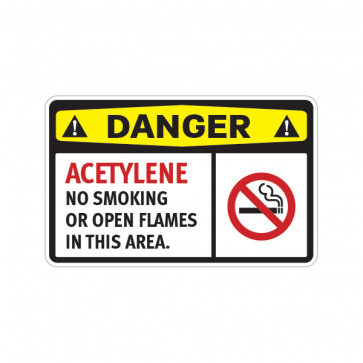 Danger Acetylene No Smoking Or Open Flames In This Area 14205