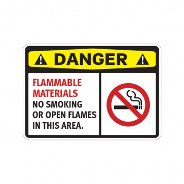 Danger Flammable Materials No Smoking  Or Open Flames In This Area 14207