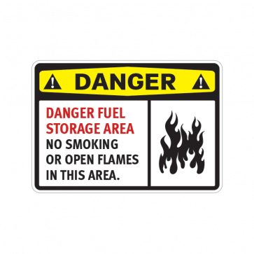 Danger Fuel Storage Area No Smoking  Or Open Flames In This Area 14212