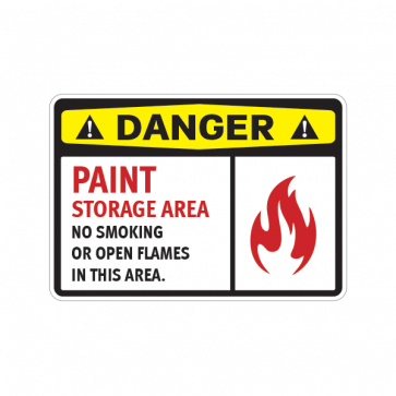 Danger Paint Storage Area No Smoking Or Open Flames In This Area 14215