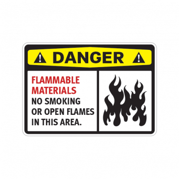Danger Flammable Materials No Smoking  Or Open Flames In This Area 14218