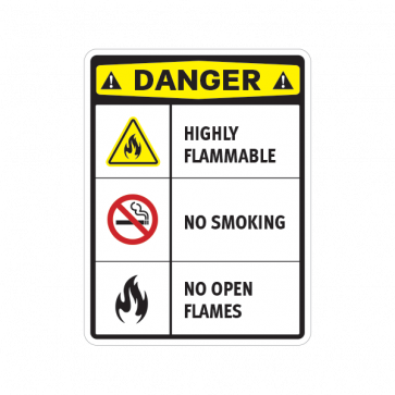 Danger Highly Flammable No Smoking No Open Flames 14226