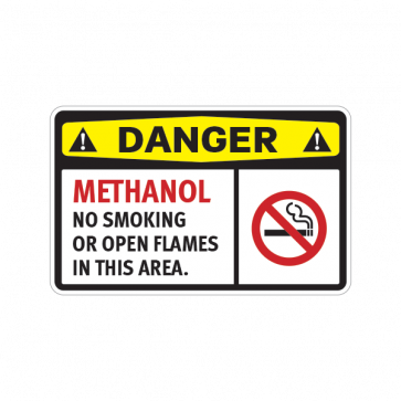 Danger Methanol No Smoking Or Open Flames In This Area 14228