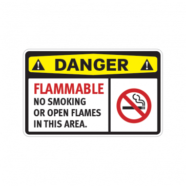 Danger Flammable No Smoking  Or Open Flames In This Area 14238