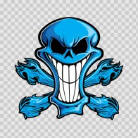 Cartoon Blue Skull 02418