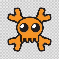 Cartoon Orange Skull 02429