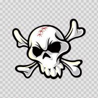 White Crossbones Skull. Printed Vinyl. 02479