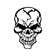 Hardcore Skull Decal Sticker 02519