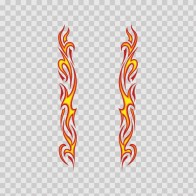 Pair Of Long Flames Pattern Red Yellow 03015