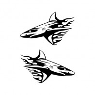 Pair Of Flamed Sharks 05412