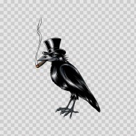 Crow With Hat Smoking Cigar 06458