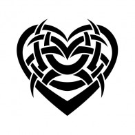 Tribal Design Tatto Style Heart 07494