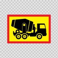 Back Vehicle Sign Concrete Truck 08442