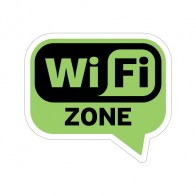 Sign Wifi Free Zone Green Black Print On Vinyl 12011