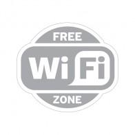 Sign Wifi Free Zone Gray Print On White Vinyl 12023